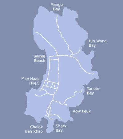 Koh Samui to Koh Tao Map Koh Tao Map